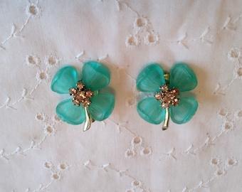 Ton argent Vintage bleu fleurs boucles d'oreilles Clip