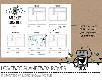 Instant Download Lunch Planner - Lovebot PlanetBox Rover