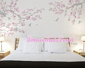 Nursery Wall Decal Wall Sticker Kids Decal - Cherry Blossoms Tree decal -Tree branch with birds-DK211