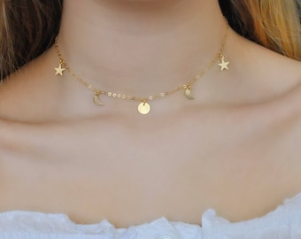 Dainty Gold Filled Sun, Moon and Stars Choker Necklace | Gold charm necklace | Layering | Celestial | Luna | UK