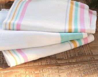 Vintage Grainsack Cotton Dish Towels Set of 3 Tea Towels, Hand Towels, Kitchen Linens, Ca. 1950's