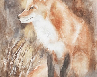 fox painting of fox art PRINT woodland nursery art Fox PRINT of fox watercolour painting fox nursery art print baby fox