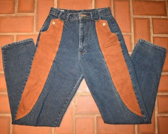 Vintage 80s Jeans Panhandle Slim P.S. High Waisted Jeans with suede pockets 1980s. Vintage jeans. Vintage denim. Unique, Suede jeans