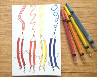 Dancing Pencils A5 Sized Blank Notebook - fun design notepad or drawing pad