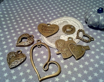 Mother's day: set of mixed /formes heart dangles / bronze metal.