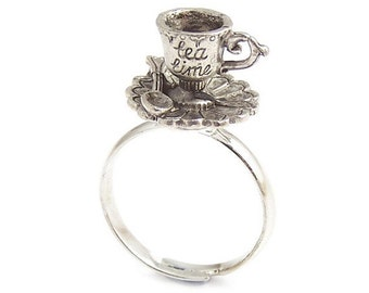 Tea cup ring Alice in Wonderland ring Darling little TEA TIME charm adjustable - Mad Hatters Tea party