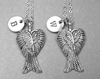 Wing Necklaces, pair of wings Necklaces, Angel wings necklace, personalized necklace, initial necklace, mother daughter, sister necklace