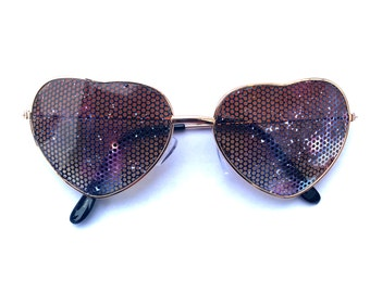 Cosmic Space Galaxy Graphic Heart-Shaped Gold Aviator Sunglasses