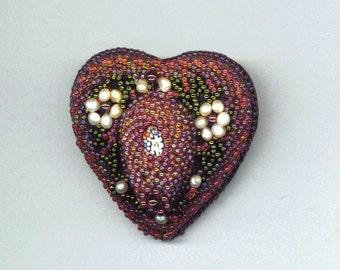 Beadwoven Heart Brooch . Pearl Flowers . Burgundy, garnet, moss green . Beaded Heart . Valentine's Day - Romantic  by enchantedbeads on Ets