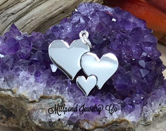 Heart Charm, Three Hearts Charm, Sterling Silver Heart Charm, Three Heart Charm, Mother And Child Charm, Family Charm, PS01640