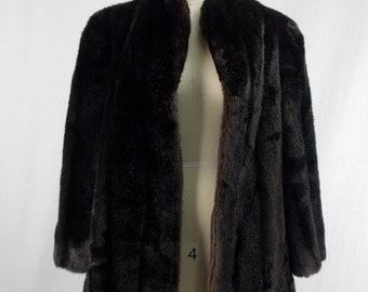 Dark Brown Faux Mink Fur Coat