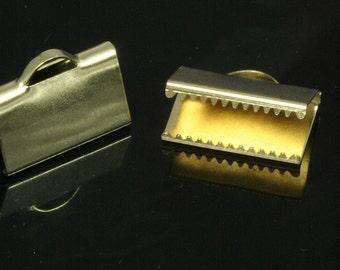 "10 pcs 10 x 16 mm 3/8"" x 5/8"" raw brass ribbon crimp ends, raw brass ribbon crimp end, ribbon crimp ends cap, with loop findings 1787"