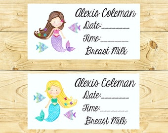 80 Dishwasher-Safe Removable Baby Bottle Labels -  Personalized breast milk labels for daycare - Mermaids