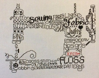 Hand Sewn Personalised Sewing Machine Cross Stitch Picture