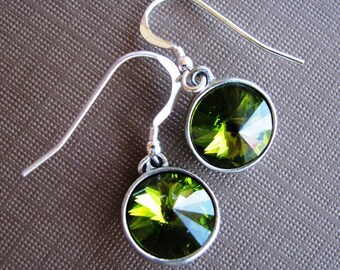 Olive Glamour - Swarovski Rivoli Rhinestone Drop Earrings in Olivine Green
