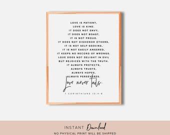 Bible Verse Wall Art, Printable Wall Art, Scripture wall art, 1 Corinthians 13, Love is patient, love is kind, Love never fails