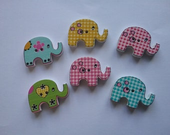 6 buttons elephants multicolored 28x21mm n712