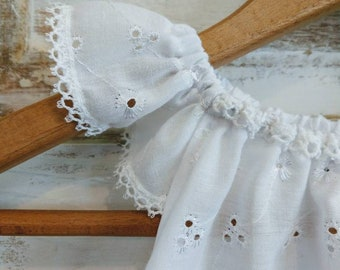 White Eyelet Flower Girl Dress | White Eyelet Dress | Capped Sleeve Dress | Birthday Dress | White Boho Baby Dress | Ellie Ann and Lucy