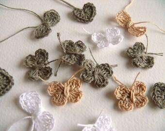40 crochet appliques, wedding favor, 10 flowers, 10 butterflies, 10 hearts, 10 bows, pink, green, beige, white, ecru, cotton, natural linen