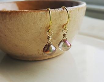 Rose Gold Bead Earrings, Czech Glass Mushroom Bead Earrings, Gold Earrings, Dangle Drop Earrings, Metallic Beads Earrings