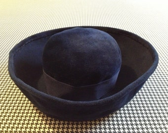 "1960's, navy blue, plush, French, ""Madeline"" hat"