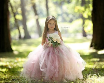 Flower Girl Dress - Tulle Flower Girl Dress - Tulle Dress-Infant/Toddler - Pageant Dress - Princess Dress - Pink and Grey Dress- Blush Dress
