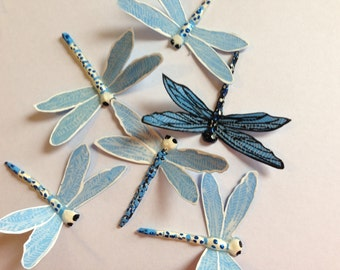 Blue & White Dragonfly brooch or hairlip MT