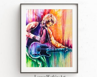 Last Dance - Watercolor Painting of Tom Petty playing the guitar - Original art - Colorful - Contemporary art - drip painting