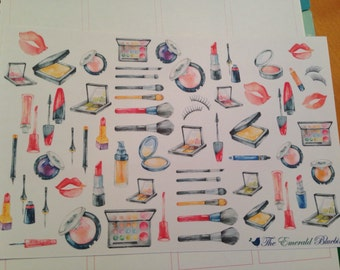 Watercolor Makeup sticker set -  for your EC, plum paper, planner