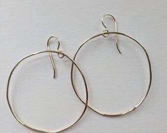 Not quite circular gold filled hoops
