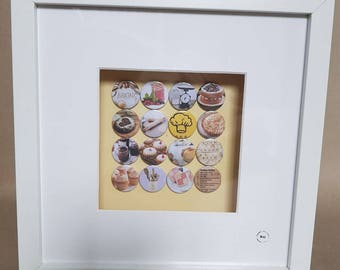 Cooking/baking 16 handmade badges set in a box frame.  Perfect gift for those who love to cook.
