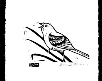 Semore the Bird Wood Block Print