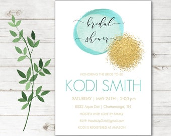 Personalized Bridal Wedding Shower Invitations and Envelopes with Watercolor Aqua Dot and Gold Glitter Beach Ocean NVB8032