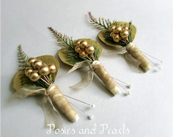 """Gold Berry Boutonnieres, with Eucalyptus and Spike Fern, Groom's Boutonniere, Silk Wedding Flowers, """"Luster"""""""