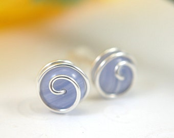10mm blue lace agate post earrings rosebud spiral stud earrings gemstone 925 sterling silver or 14k gold filled wire wrapped periwinkle