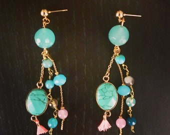 Earrings blue and pink beads