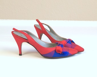 Sale vtg 50s red and blue PLAID bows PINUP HEELS pumps 6 or 6.5 kitten bombshell