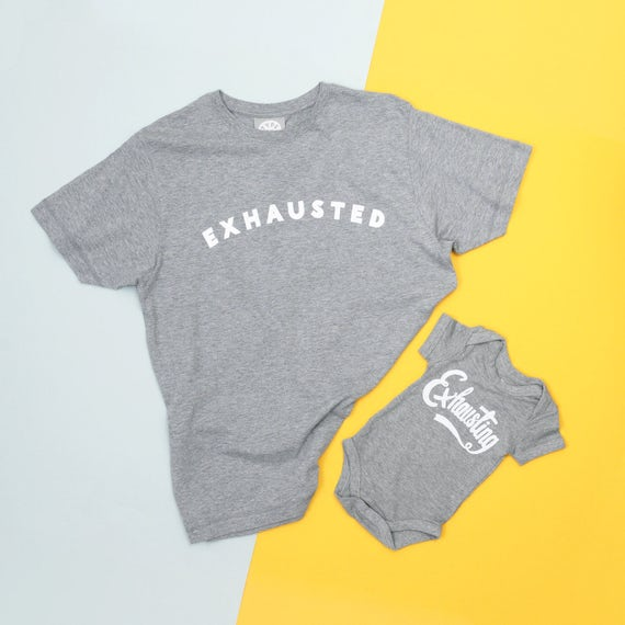 Dad and Baby Matching Shirt - Dad and Baby T Shirt - New Father T Shirt Set - Exhausted/Exhausting Set - Alphabet Bags