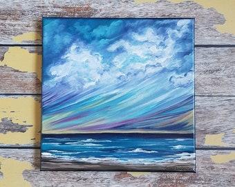 """Seascape Painting   Seascape Canvas Art   Beach Art   Coastal Painting   Landscape Painting   Original Art   10x10   """"Coming Home"""""""