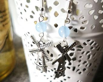 Earrings chalcedony, blue stone, pinwheels, costume, jewelry, gift, woman, Pagan, silver