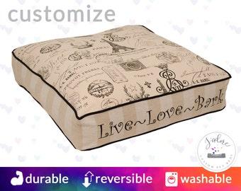 Personalized Square Dog Bed   Paris, Parisian, Script, Black, Natural, Linen   You choose size and fabrics - Custom Square Dog Bed