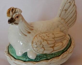 Antique Staffordshire chicken hen on nest tureen egg holder