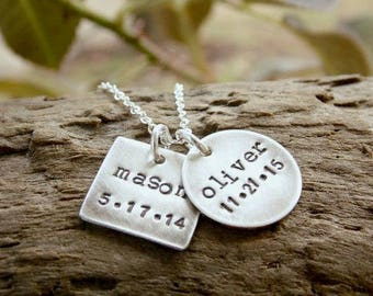 Mother Necklace with Two Kids Name and Birthdate Stamped Sterling Silver Distressed Disc