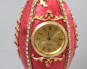 Red Clock, Red Jeweled Desk Clock, Unique Clock, Table Clock, Desk Accessories, Room Decor, Gift Idea, Faberge Decorated Egg