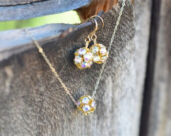 Bridesmaid Jewelry Set, Crystal Bridesmaid Jewelry Set 14k Gold AB Rhinestone Junior Bridesmaid Gift Jr Bridesmaid Jewelry Set