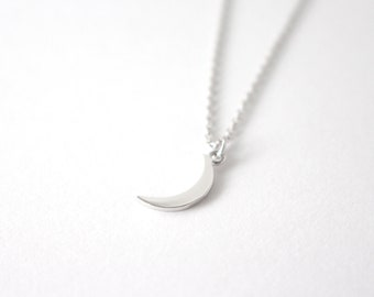 Silver crescent moon necklace,  crescent moon necklace, Silver moon necklace