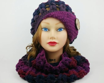 Crochet Cloche Hat And Cowl Set, Slouchy Beanie Hat With Button, Crochet Cowl Scarf, Flapper Hats For Women, Crochet Hat Womens Cowl