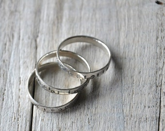 Stamped Sterling Silver Rings - set of three - Custom Personalised Writing