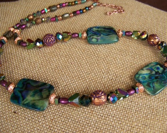 Blue Green Abalone Geometric Jewelry,Mother of Pearl Necklace,Green & Pink Jewelry,Floral Jewelry,Copper Neckalce,Beaded Jewelry,#128