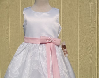 Flower girl Dress white pink attached sash, sleeveless crystal organza girls dress pink, Girls Size 2 4 6, Simple Elegant Flower Girl Gown